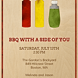 "It's not a barbecue without ketchup and mustard, so get your guests in the mood with this ""side of you"" invitation (price upon request)."
