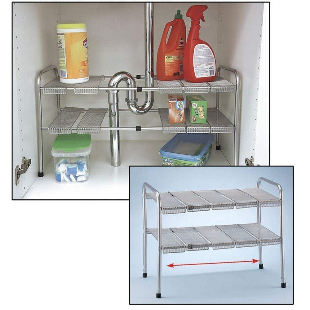 ATB 2 Tier Expandable Adjustable Under Sink Shelf Storage Shelves