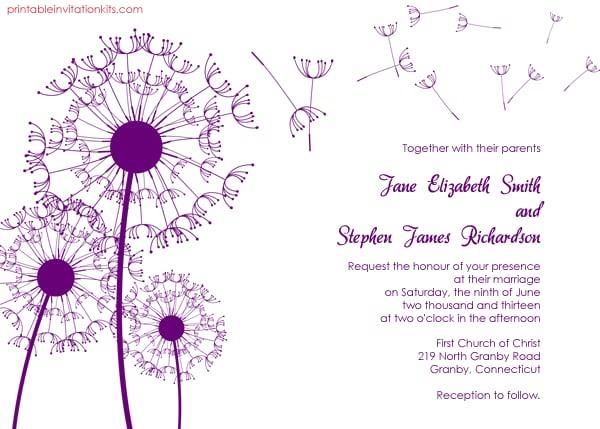 Free Wedding Invitations Templates Printable: Dandelion Wedding Invitation