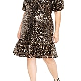 ELOQUII Sequin Puff Sleeve Fit & Flare Dress
