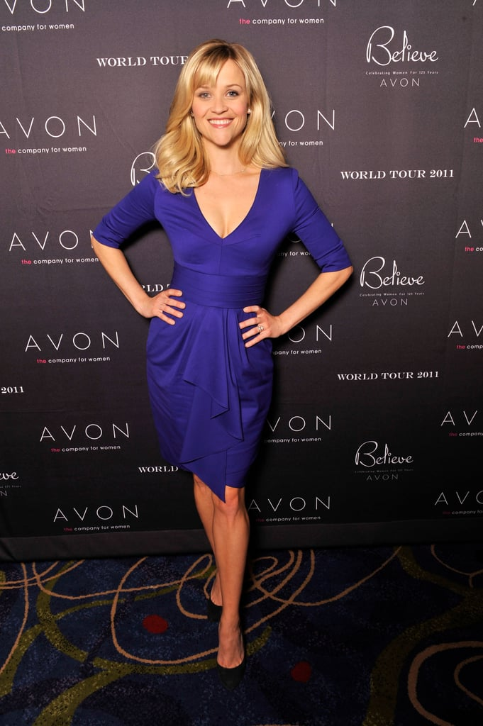 Reese Witherspoon stepped out for an Avon event in Atlanta yesterday. She was there as the brand's global ambassador to help celebrate its 125th anniversary as part of its global believe tour. Reese chose two gorgeous looks for the occasion, first donning a bright purple number and later changing into a crisp white Giambattista Valli. She just returned from Paris, where she supposedly went shopping for an even more important piece of clothing, her wedding dress — what do you think she should wear on the big day?