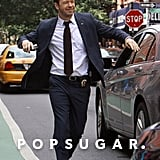 Donnie Wahlberg filmed a chase scene through the streets of Manhattan for Blue Bloods on Monday.