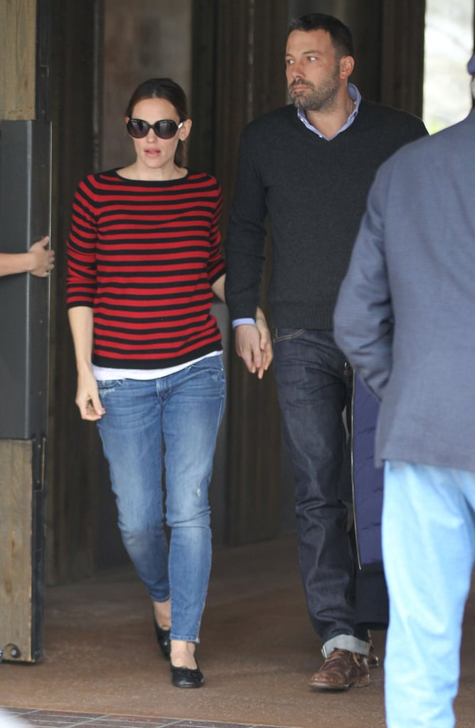 Jennifer Garner wore a striped shirt on Saturday.