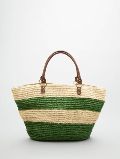 Whether you're at the beach or out doing errands, green and ivory stripes look fresh for Summer.  B11032 by Straw Studios Tote ($69)