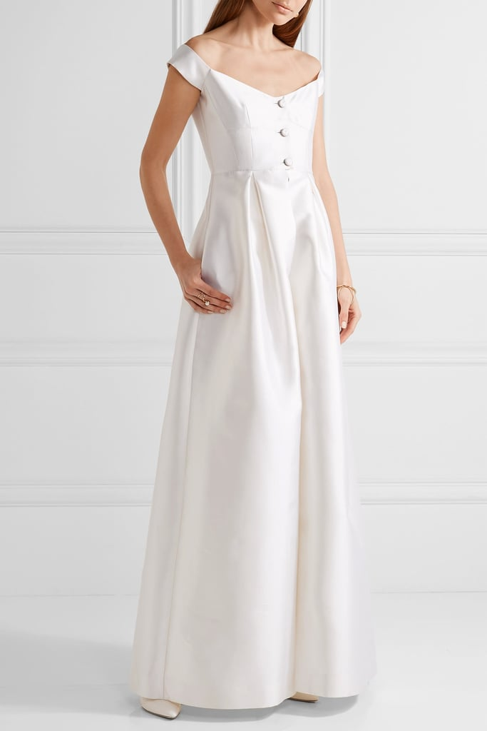 Gabriela Hearst Tituba Off-the-Shoulder Silk and Wool-blend Faille Gown