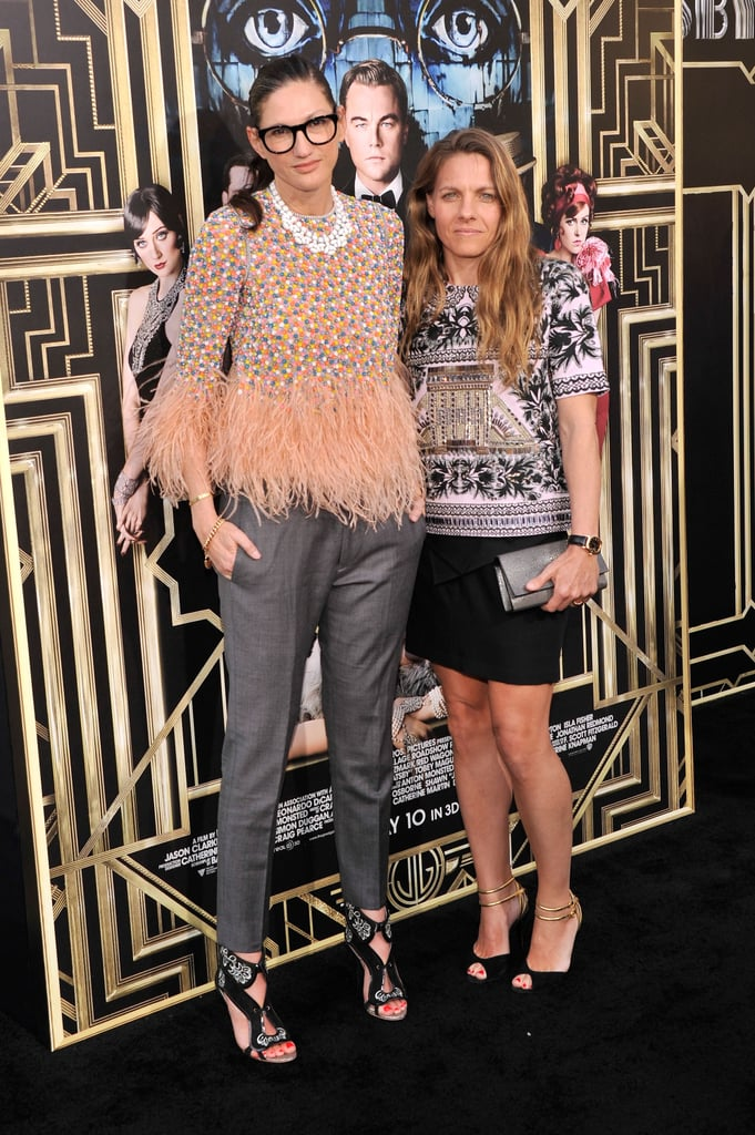 Jenna Lyons paired a feather-embellished top with gray trousers, while Courtney Crangi showed off her stems in a black miniskirt, structured top, and black pumps at the Great Gatsby premiere.