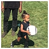 North West officially made her mama, Kim Kardashian, a soccer mom!
