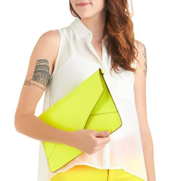 Neon Yellow Vegan Tablet Clutch