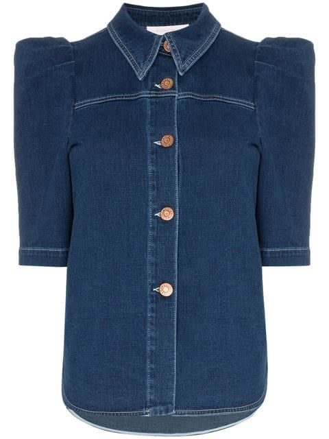See By Chloé Button Down Puff Sleeve Denim Blouse