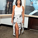 Kim Kardashian Wearing a Vintage Dior Newspaper Skirt at a Wardrobe.NYC x Levi's Event
