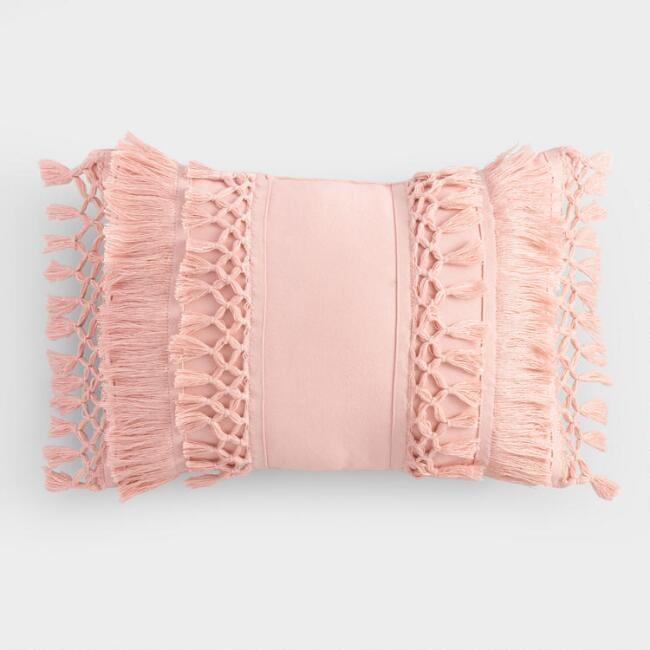 Blush Fringe Indoor Outdoor Lumbar Pillow