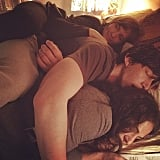 Lena Dunham, Adam Driver, and Allison Williams snuggled on the set of Girls season four. Source: Instagram user lenadunham