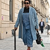 Instead of jeans, try a denim jumpsuit or romper and toss your denim jacket over your shoulders.