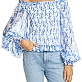 Caroline Constas Damaris Floral Off the Shoulder Silk Top