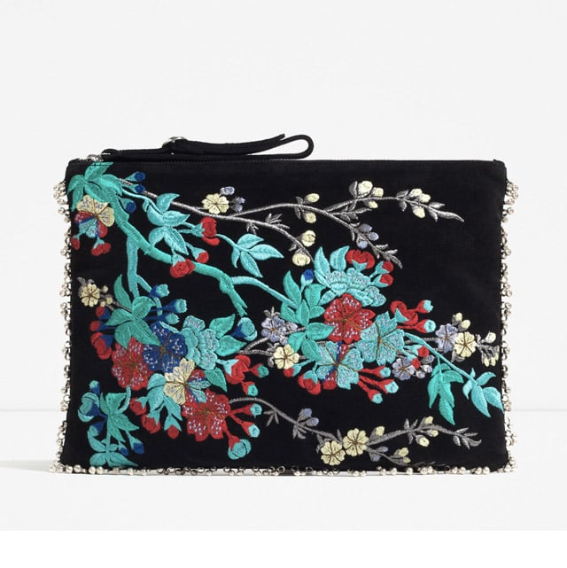 Zara Embroidered Leather Clutch ($50)
