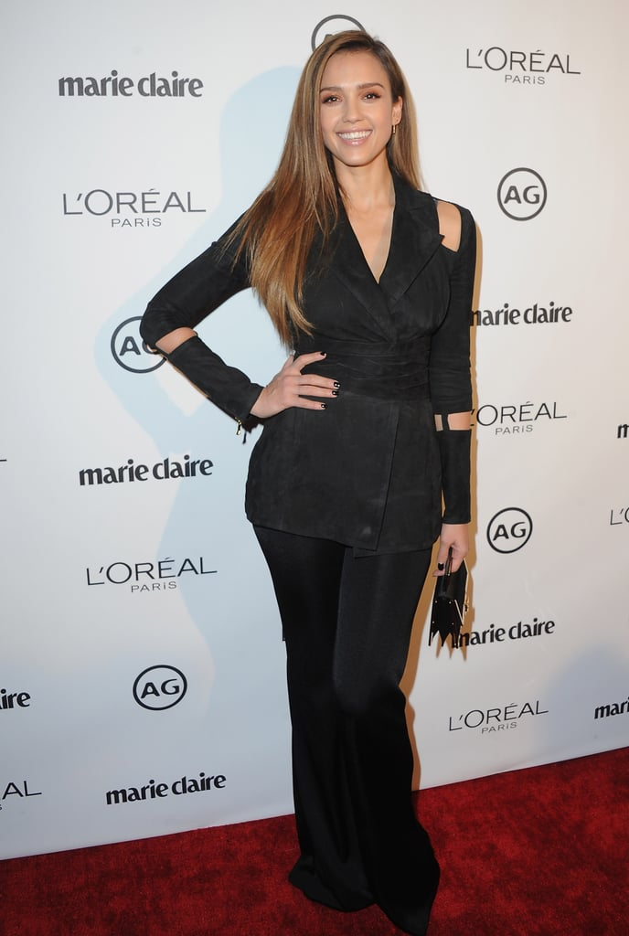 Jessica Alba attended Marie Claire's Image Maker Awards in Los Angeles on Jan. 10, where she rocked not one but two '90s-inspired style trends on the red carpet: cold shoulders and sleeve slits.  The Mechanic: Resurrection actress and The Honest Company founder, whose fashion choices routinely catch our eye, paired a chic black blazer with flared trousers to create a must-have, fun pantsuit. Beauty-wise, Jessica kept her hair super sleek and her makeup subtle yet smoky, which was perfect considering she was at the ceremony to present her makeup artist, Daniel Martin, with the new guard award. Keep scrolling to see her look in action and shop for a similar statement piece!      Related:                                                                You'll Realize How Much You Love Jessica Alba's Style as Soon as You're Done Looking at These Photos                                                                   44 Times Jessica Alba's Outfit Was No Match For a Long Plane Ride                                                                   Consider This Your Guide to Jessica Alba's Fierce 2016 Street Style
