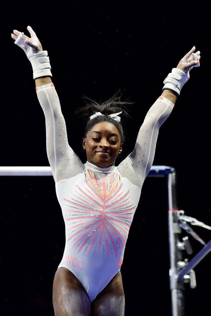 """Simone Biles is proudly embracing her status as one of the greatest gymnasts the world has ever seen. During the 2021 GK US Classic on May 22, Biles made history as she nailed a Yurchenko double pike on vault — a skill no woman ever attempted in previous competitions. Such a historic event called for a memorable leotard to match, and Simone wore one with an appropriate """"GOAT"""" message.  The long-sleeve rhinestone-encrusted one-piece comes from GK Elite athleticwear, the brand behind apparel worn by other standout gymnasts, like Laurie Hernandez and Katelyn Ohashi. Eagle-eyed fans will notice a goat displayed on Biles's back, representing her status as the """"greatest of all time."""" This symbol also hints at her post-Olympic plans, when she'll be taking the Gold Over America Tour (GOAT) to empower the next generation of women in athletics. Get a closer look at Biles's leotard — and her unforgettable vault — in the photos and video ahead.       Related:                                                                                                           Simone Biles on the One Beauty Product She's Excited to Take to the Tokyo Olympics"""