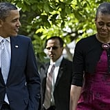 Barack gave Michelle a sweet smile as they headed to an Easter service in April.