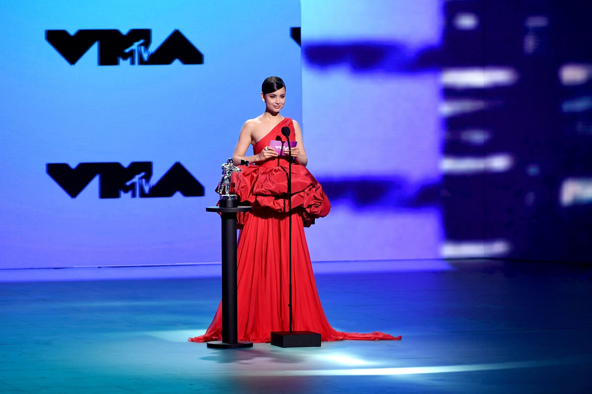 UNSPECIFIED - AUGUST 2020: Sofia Carson speaks onstage during the 2020 MTV Video Music Awards, broadcast on Sunday, August 30th 2020. (Photo by Kevin Winter/MTV VMAs 2020/Getty Images for MTV)