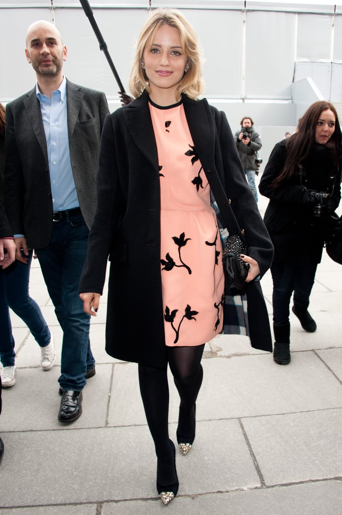 Dianna Agron sported a sweet Miu Miu frock to the label's Fall show.
