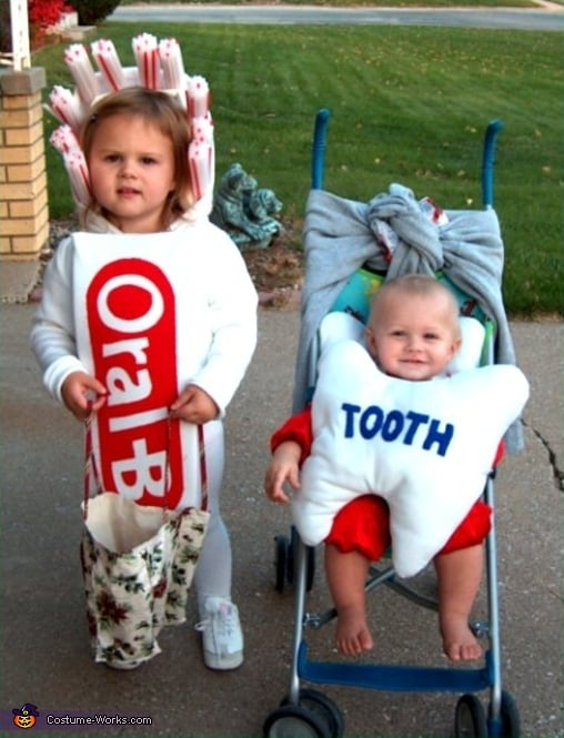 Toothbrush and Tooth  sc 1 st  Popsugar & Toothbrush and Tooth | Matching Sibling Costumes For Kids Halloween ...