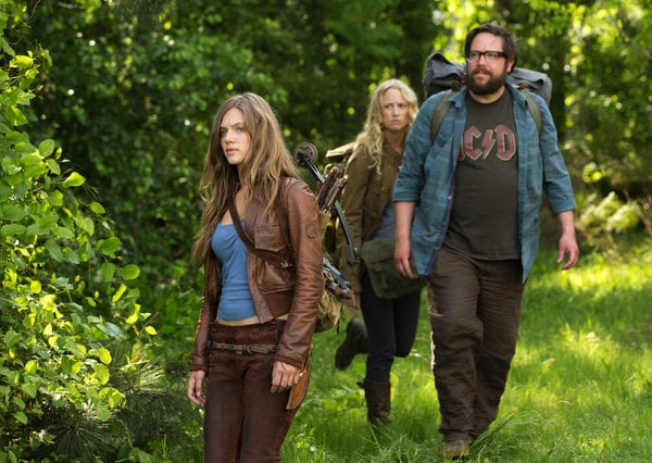 Tracy Spiridakos as Charlie, Zak Orth as Aaron, and Anna Lise Phillips as Maggie on Revolution.</p> <p>Photo courtesy of NBC