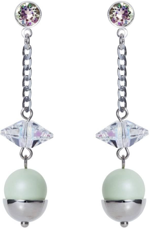 Nadia Minkoff Pearl & Crystal Spike Earrings Mint Green