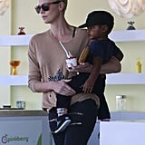 Charlize Theron and Jackson Theron stopped at Pinkberry in LA.