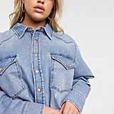 ASOS Design Curve Denim Oversized Shirt in Vintage Midwash Blue