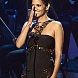 Halle Berry wore a black dress at the event honoring Whitney Houston in LA.