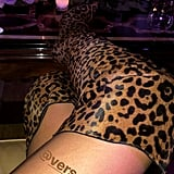 She Completed the Look With Leopard Thigh-Highs, That She Captured a Dinner