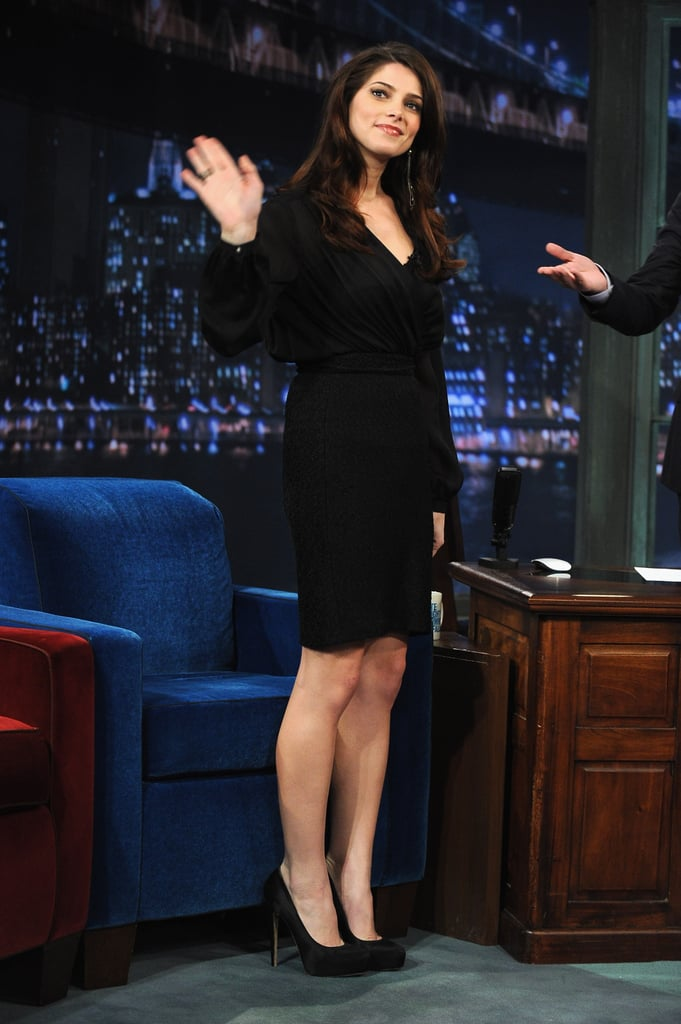 Ashley Greene took a turn stopping by Late Night With Jimmy Fallon in NYC yesterday and while her episode doesn't air until Thursday, it looks like as usual he made sure to keep his guest on her toes. Ashley is making the rounds on the East Coast with costars Jackson Rathbone and Nikki Reed while Robert Pattinson and Kristen Stewart take care of premiering Breaking Dawn Part 1 in the UK today. Nikki, Ashley, and Jackson also took care of the Breaking Dawn soundtrack tour, which had stops around the country last week. The whole cast was together Monday night for the big LA red carpet, where Ashley Greene wowed in a red Donna Karen gown. Fans camped out for days to get a glimpse at their favorite Twilight stars at the world debut of the movie, and they only have a couple more days to wait until Breaking Dawn Part 1 finally hits theaters on Friday Nov. 18.