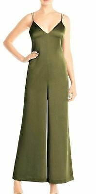 Whistles Khaki Green Relaxed Satin Strappy Jumpsuit