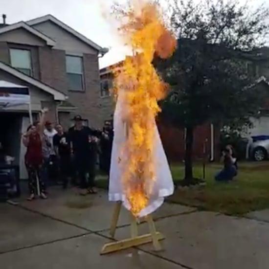 Woman Burns Wedding Dress After Divorce