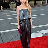 Emma Roberts shimmered in a strapless gown.