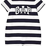 Gap Navy and White Stripe Logo Short Onesie ($18)