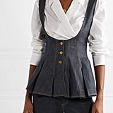 Rosie Assoulin Scoop Denim Peplum Top