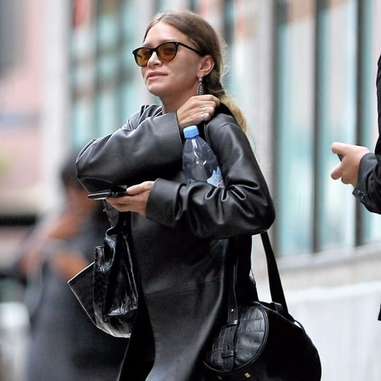 Ashley Olsen Wearing Leather Coat