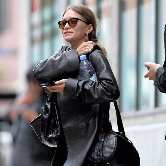 Ashley Olsen Wearing Leather Coat