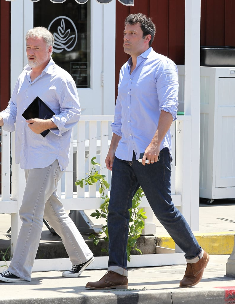 Ben Affleck met fellow director David Fincher for a lunch date in LA on Tuesday. The duo may have been discussing a possible partnership since news broke that Ben is in negotiations to star in Gone Girl, which David is in line to direct. In the upcoming project, Ben will reportedly star as Nick, a husband who's left as the prime suspect after his wife goes missing upon their fifth wedding anniversary. He would be joining another big name already tied to the film in Reese Witherspoon, since she is set to produce the project, which will be an adaptation of Gillian Flynn's bestselling mystery novel. Along with talks of his new role, Ben is due to hit the red carpet soon for the promotional tour for his new film Runner, Runner, which also stars Justin Timberlake. The Runner, Runner trailer was released last month, and the thriller is set to hit theaters on Sept. 27.