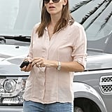 Jennifer Garner wore a light-pink top out in LA.