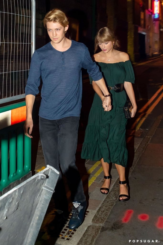 "Taylor Swift may be super busy with her Reputation stadium tour, but she still finds time for her man. On Wednesday, the ""Delicate"" singer was spotted enjoying a casual date night with her boyfriend, Joe Alwyn, as they dined at Covent Garden's Hawksmoor steak restaurant in London. The two appeared in good spirits as they held hands and strolled along the street. While the English actor kept things casual in jeans and a blue shirt, Taylor wore a flirty green dress, a black clutch, and her signature ""J"" necklace.  Though the pair rarely step out together, we have gotten a few cute glimpses of their love story from time to time. In March, Taylor and Joe were spotted showing sweet PDA as they took a hike in Malibu, and over Fourth of July, the two jetted off to a luxury resort in Turks and Caicos for a romantic getaway. Plus, Joe has even popped up for a few of Taylor's shows. During the singer's opening night in Glendale, AZ, in May, Taylor serenaded Joe during a performance of ""Gorgeous,"" which is reportedly about their relationship. See more photos from their latest outing ahead.       Related:                                                                                                           The Scarce Details We Have About Taylor Swift and Joe Alwyn's Super-Private Romance"