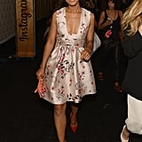 Kerry Washington attended New York Fashion Week Spring 2014 in a pretty, plunging, floral Stella McCartney dress and bright Casadei heels.
