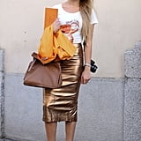 A gold-foil pencil was all she needed to transform a basic tee.