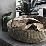 Baskets ($13) woven from dried seagrass are designed to stack for easy shipping.