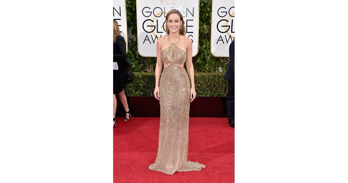 dcb42bce Brie Larson sparkled in a Calvin Klein gold cut-out halter dress | Gold  Dress Trend at the Golden Globes 2016 | POPSUGAR Fashion Australia Photo 2