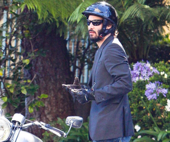 Slide Picture of Keanu Reeves on His Motorcycle in LA