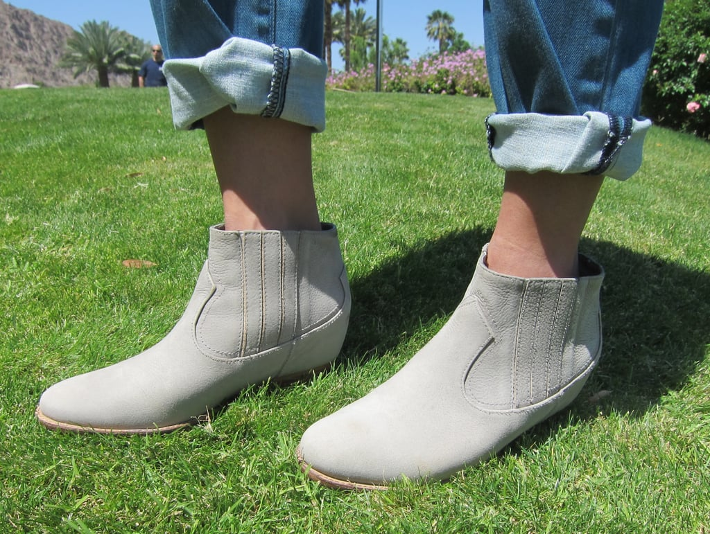 A pair of chalky gray booties by 80%20 are a pretty alternative to the go-to black bootie.