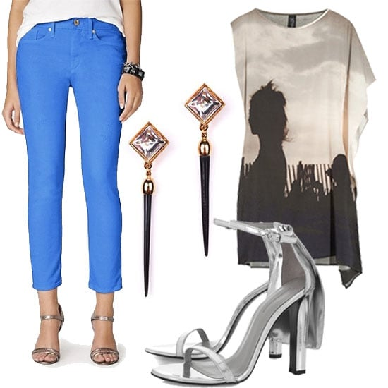 Casual: Pair a tunic dress over a pair of bright skinny jeans for a casual-cum-chic look.  Juicy Couture Colored Jeans ($158), Lulu Frost Quill Earrings ($200), Alexander Wang Fabiana Metallic Leather Sandals ($495), Zero+MariaCornejo Contro Digital Silk Dress ($695)