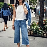 On Marina: Mango denim top, Topshop jeans, Levi's denim jacket, Covry sunglasses, and Alexandre Birman shoes.